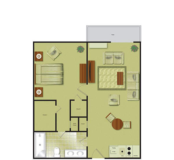 IL H 1 Bedroom + 1 Bath